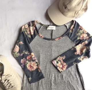 Threads Gray and Floral Shirt