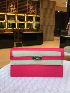 Hermes Kelly Wallet Epsom CC Pink