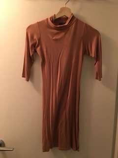 Boohoo Nude Turtleneck Dress