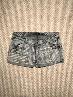 Denim Tribal Pattern Shorts