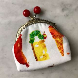Candy Kisslock Purse ( Curved frame)  Hungry Caterpillar. Handmade.