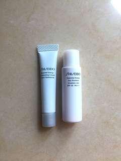 Shiseido sample cream and sunscreen