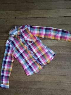 H&M Checkered Long Sleeve Polo