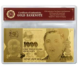Singapore Dollar $1000 999 Fine Gold Foil Banknote