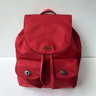 Coach Nylon Backpack(True Red) Size 28x27x12cm (very light and spacious, perfect for traveling)