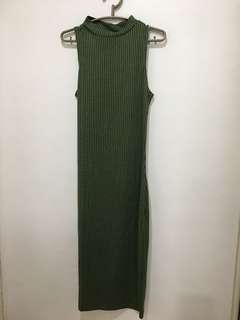 Cotton On Olive Green Maxi Bodycon Dress