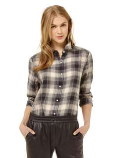 Babaton plaid flannel blouse