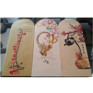 3 pcs Organic Hari Professional Year of Monkey Red Packet / Ang Bao Pao Poe Pau