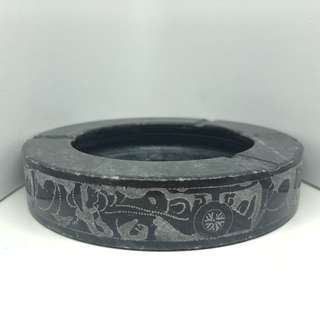 Vintage Black/Grey Marble Ashtray with Ancient Designs