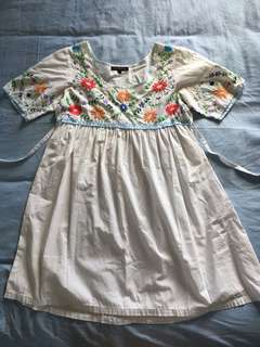 Womens Mexican Embroidered Smock Dress 1 (8-10) Gypsy Boho Style