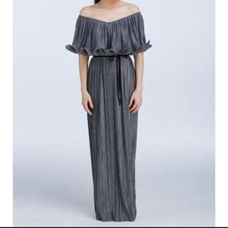 Innit Signature Pleated Maxi Dress grey/silver