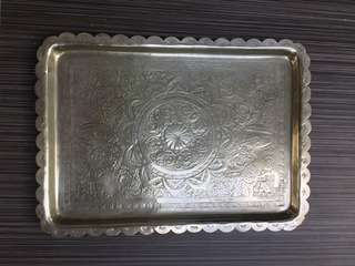 Middle eastern handcrafted silver tray