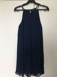 Zalora Pleated Dress in Navy, Size Medium