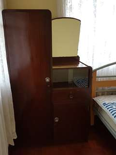 Elegant antique teak Cupboard with vanity mirror