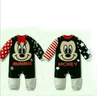 🚨CLEARANCE [Juniorcloset] 🆕 Mickey mouse romper (6-12m) Minnie mouse romper (18-24m) onesie