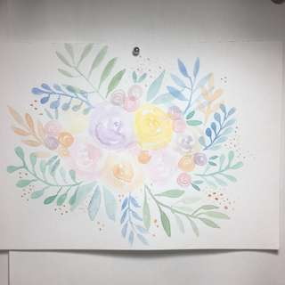 A5 Watercolour Florals and Calligraphy Birthday Card