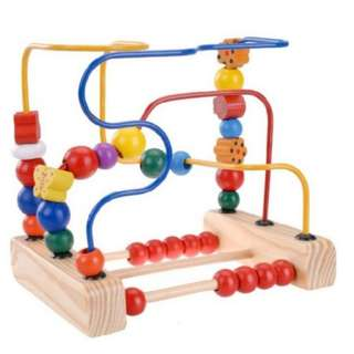 Kids Learning Trailer Around The Pearl Beads Wooden Toy