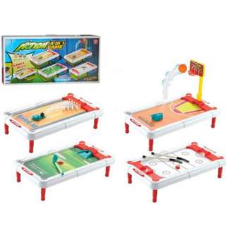 Kids Childrens Learning Action 4 in 1 Board Games (Bowling, Basketball, Golf and Hockey)