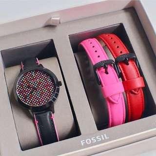 Fossil Jaqueline Leather Strap Box Set#BQ3151(3,4cm)