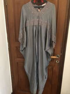 Grey Beaded Satin Kaftan