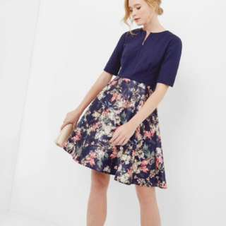 Ted Baker layered navy floral dress mid-sleeves