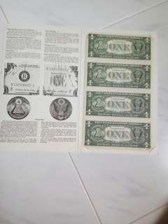US  $1   4 in 1  uncut  note
