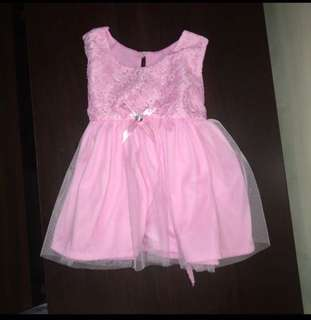 Lacey pink baby dress