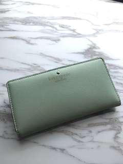 Kate Spade 粉綠色長銀包