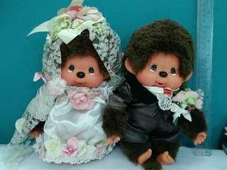 25 cm Monchhichi 公仔 monchichi 結婚公仔一對