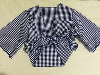 Gingham tie knot top