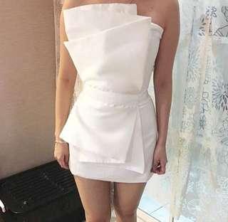 Duches white drapping dress / cocktail putih / baju pesta simpel / party dress promnight / bridesmaid