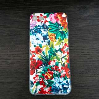Iphone 8 Floral silicon case flower transparent soft bendable print red green