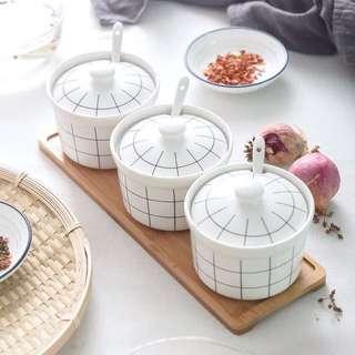 (Instock) Grid Ceramic Spice Jar Set (of 3)