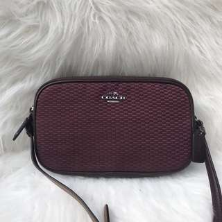 Coach Crossbody Pouch in Jacquard Black Oxblood