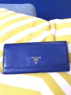 Genuine Prada Bi-Fold Wallet ZIP Long - Navy Blue