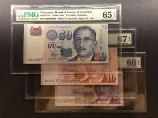 1999 SINGAPORE $50, $10 & $2 0MF 000010 SAME PREFIX PMG GRADED
