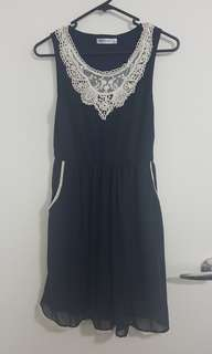 Navy Blue Dress with Lace Trims