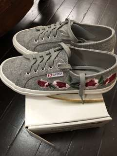 ORIGINAL superga gray with embroidery
