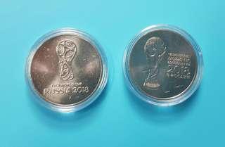 (包平郵)2018俄羅斯世界盃紀念幣2組。清理物品騰出空間低價出售