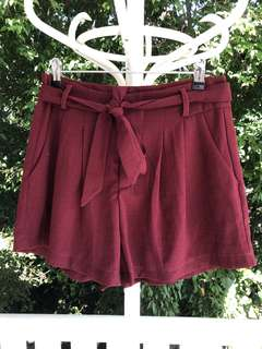 Maroon Tie Up Shorts