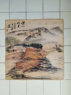Chinese Painting Mountain And Water Size 68x68cm Perfect
