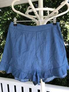 High Waisted Blue Ruffle Shorts