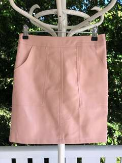 Baby Pink Leather Skirt