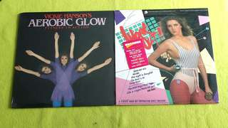 AEROBIC GLOW . Vickie Hanson's fitness in action ● WORK OUT (Rare) aerobic disco. ( BOTH SEALED) ( work out sheets included) ( buy 1 get 1 free )  vinyl record