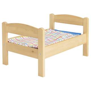 IKEA DUKTIG Doll's bed with bedlinen set, pine, multicolour