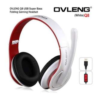 OVLENG Q8 USB Port Super Bass On-ear Headphones with Microphone & 2.0 m Cable White & Red