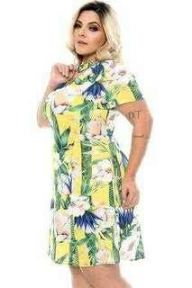 Plus size Yellow bamboo dress