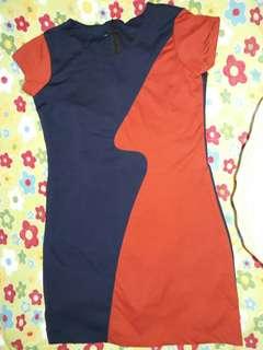 Plus Size Dress - Orange & Blue