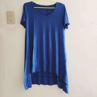 Blue high-low cut top