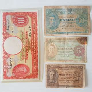 Old Currency, Vintage Bank Notes, a Rare set of 4 Straits Settlements, Royal Imperial British Era, King George Ten Dollars Note, Ten cents note, Five cents note and one cent note, Original, Legal Tender, Malaya 1941